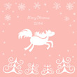 Christmas card with a running horse