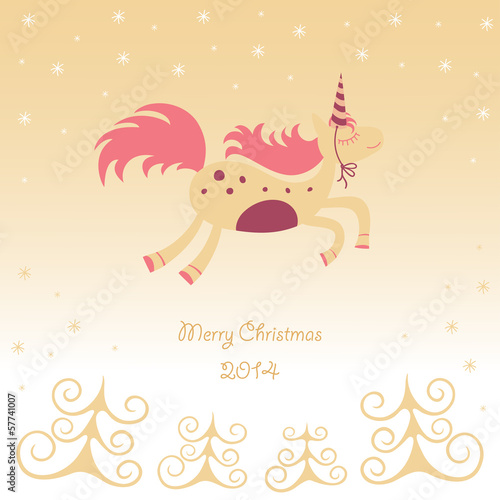 Christmas card with a running horse dreamy