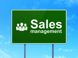 Advertising concept: Management and Business People on road sign