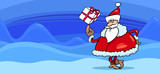 Santa with present greeting card