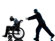 injured funny man in wheelchair escaping away of nurse silhouett