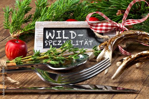 Leinwanddruck Bild Schild mit der Aufschrift - Wild-Spezialität
