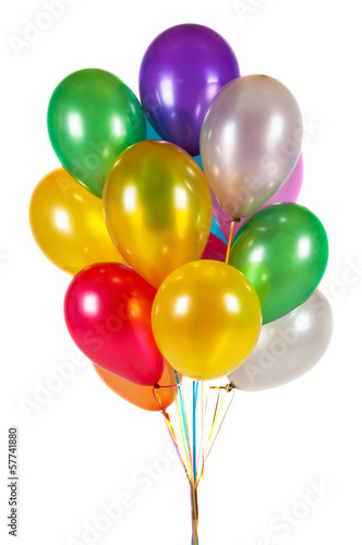 Colorful balloons isolated on white background