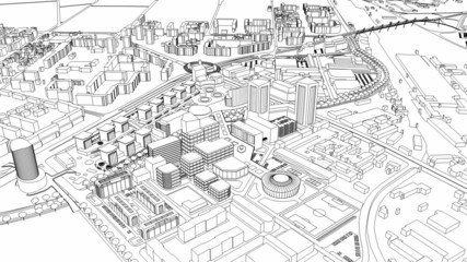 Loopable Aerial view of city wire model