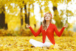 Autumn yoga woman