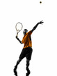 man tennis player at service serving silhouette - 57742260