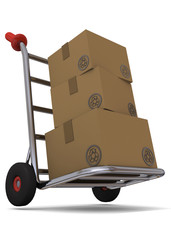 Hand truck with cardboard boxes - 3D