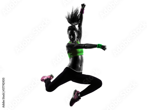 Tuinposter Gymnastiek woman exercising fitness zumba dancing jumping silhouette