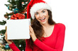 Happy surprised woman holding Christmas gift