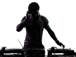 disc jockey man silhouette