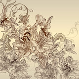 Beautiful vector background with hand drawn flowers