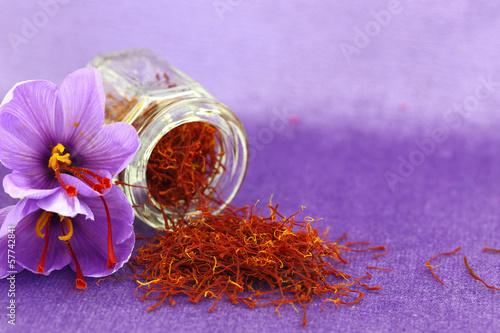 Dried saffron spice and Saffron flower - 57742841