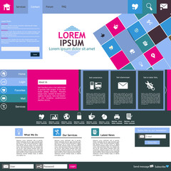 Modern flat website template design