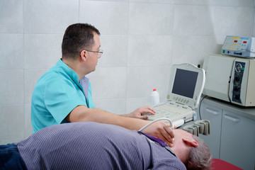 Man gets ultrasound medical examination