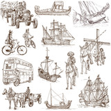 Transportation around the World 2 - full sized drawings on white