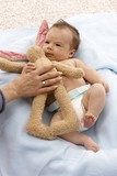 Lovely infant with plush bunny