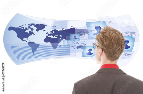 Young man looking with virtual glasses isolated