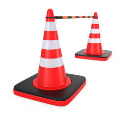 Two traffic cones connect by a pole