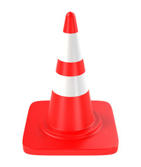 Single red traffic cone