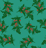 Vintage engraving christmas art. Seamless pattern.