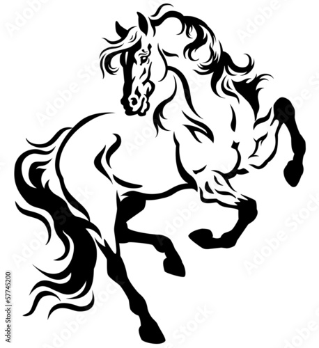 horse tattoo black white