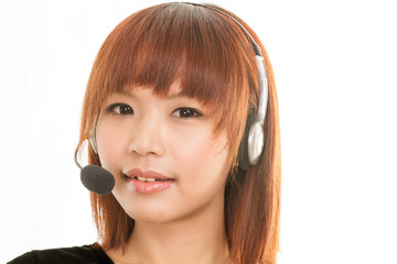 Asian woman with headset microphone