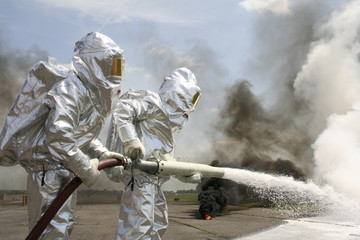 firefighter in protective suits
