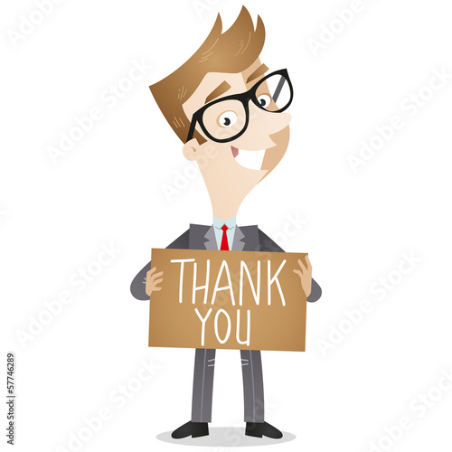 Businessman, sign, THANK YOU