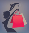 happy girl and shopping bag
