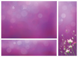 Vector violet background and banners for design.