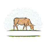 Sketch of ornamental cow for your design