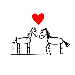 Couple of horses in love, sketch for your design
