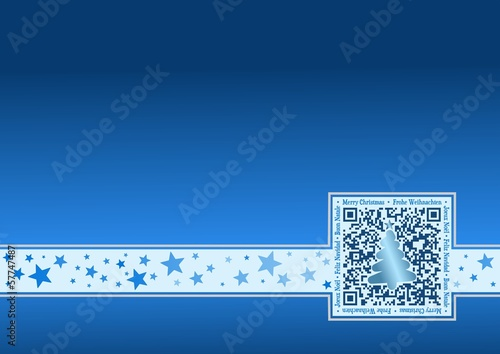 International Christmas-Card with QR Code - Blue
