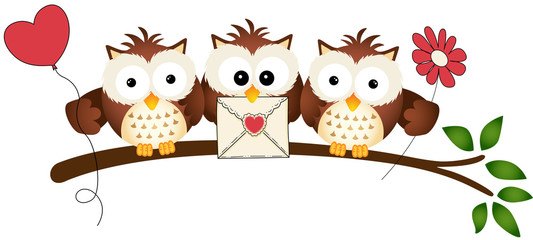 Cute Three Love Owls