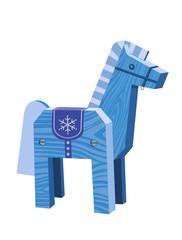 Лошадь-синяя деревянная на белом фоне. Векторная иллюстрация
