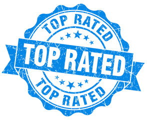 Top rated grunge damaged round blue vintage seal