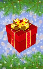 Подарок новогодний в ветках ёлки. Новогодняя векторная открытка
