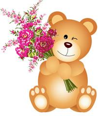 Teddy Bear Holding Flowers