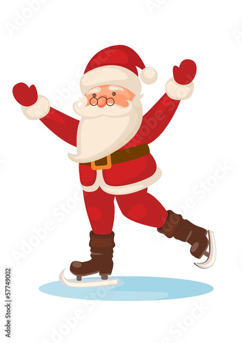 cartoon skating Santa Claus isolated