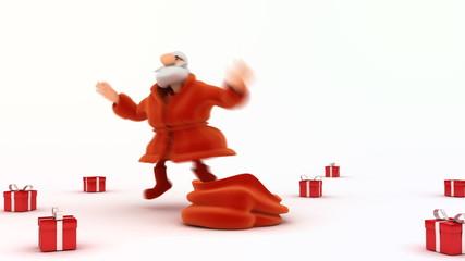 Santa Claus gives gifts