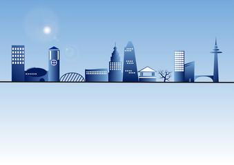ciudad azul reflejo