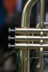 Close up of a part of a brass music instrument