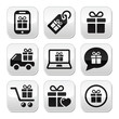 Present, shopping vector buttons set