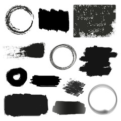 Brush Stroke Icons Set - Isolated On White Background