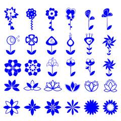 Flower Icons Set - Isolated On White Background