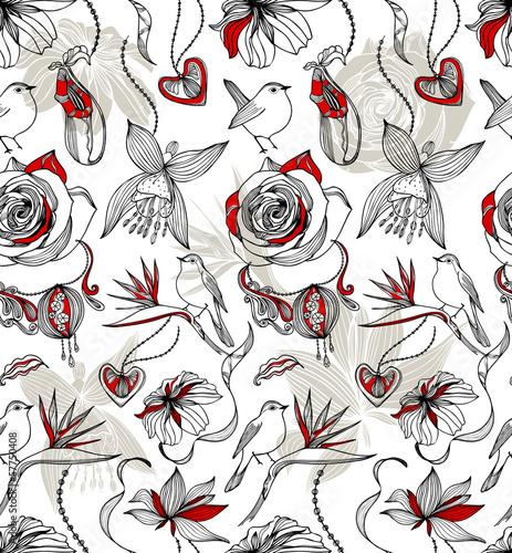 Tuinposter Abstract bloemen Seamless pattern