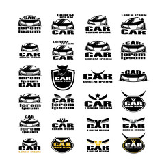 Car Icons Set - Isolated On White Background - Vector