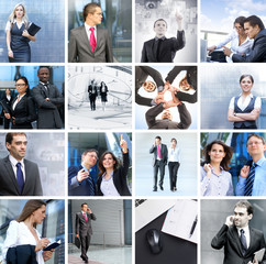 Business, people and success: collage made of photos