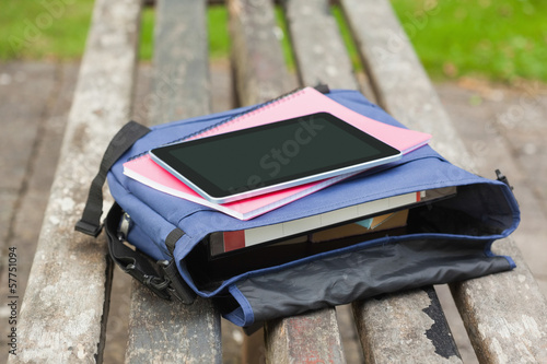 Purple schoolbag lying on park bench
