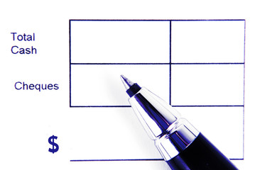 total cash form and pen isolated